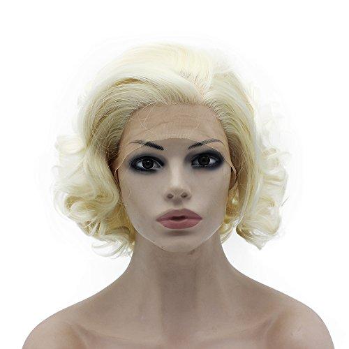 Iwona hitzebeständig Hälfte Hand auf Licht blond kunsthaar, Lace-Front Natur Kurz Elegant Gelockt Perücke -