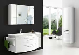 SAM ® vena ensemble de 3 meubles de salle de bain blanc-façade et corps complet blanc laqué gris brillant-poignées en métal en acier inoxydable d meuble salle de bain miroir et armoire et mineralguss bac 110 cm lavabo complètement monté à la livraison: une entreprise de transport