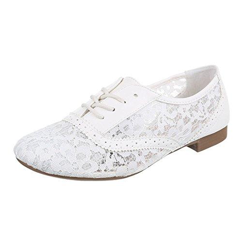 Damen Schuhe, A-102, HALBSCHUHE, SPITZEN SCHNÜRER, Synthetik , Weiß, Gr (Rote Schwarze Spitzen Bella Schuhe Und)