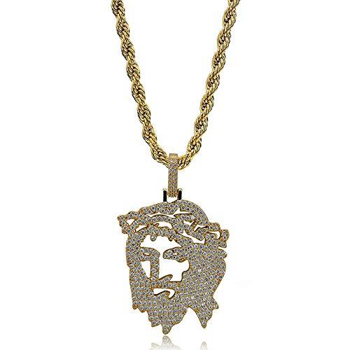 Solide Zurück Iced Out Jesus   Christus Stück Kopf Gesicht Anhänger Halsketten Hip Hop Gold Silber Kette für Männer Frauen - Kubanische Frauen Kostüm