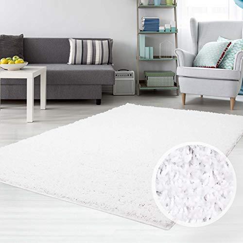 carpet city Hochflor Shaggy Teppich Langflor Teppiche Einfarbig Uni Weiss für Wohnzimmer Schlafzimmer 3 cm Florhöhe, Größe 120x170 cm -