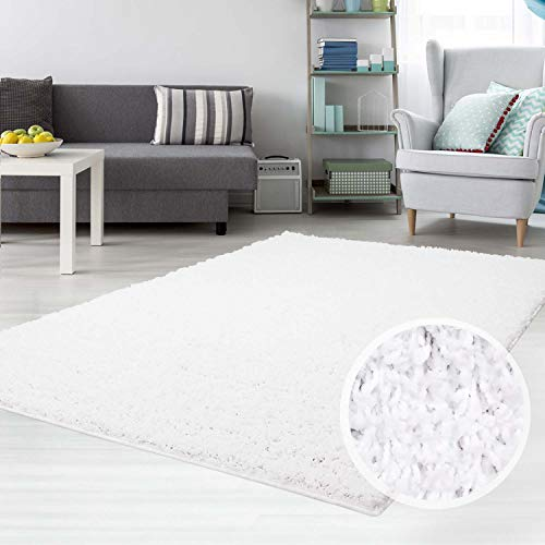 carpet city teppich shaggy hochflor langflor flokati einfarbig uni aus polypropylen in weiss fur
