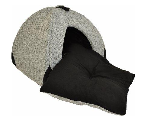 Hundehöhle / Katzenhöhle 'Woody' – 45 cm – grau / schwarz mit weichem, herausnehmbaren Schlafkissen - 4