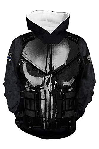 Der Kostüm Punisher - MingoTor Herren Damen Punisher 3D Hoodie Kapuzenjacke Unisex