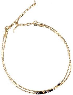 KELITCH Armband Gold Gefüllt Verfeinerung Kette Link Fein Doppelt Einstellbar Armbänder mit Rocailles Perlen