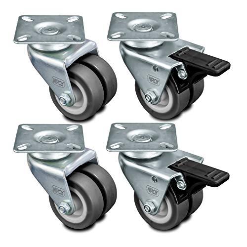 Nirox 4x Transportrollen 50mm - Möbelrollen Räder 2x Bremse - Strandkorbrollen Rasen und Sand geeignet - 75mm Gesamthöhe - Lenkrollen für Innen und Außen - Schwerlastrollen bis 400kg