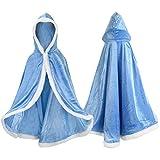 Proumhang Capo Principessa Bambina Mantello Principessa con Cappuccio Regina Costume Halloween Carnevale Natale Blu