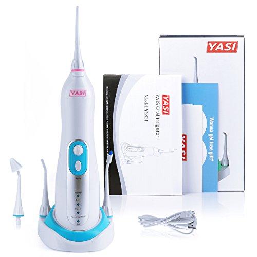 YASI YS831 Munddusche mit 4 Modi und 4 unterschiedlichen Düsen Zahnreiniger MundpflegeaufladbarReiningung mit professionelle Zahnpflegegroßer Wassertank Wasserdicht oraler Spülapparat Zahnreinigung Zahnfleischreinigung Zahnzwischenraum Reinigung (Inklusiv Ladebasis)