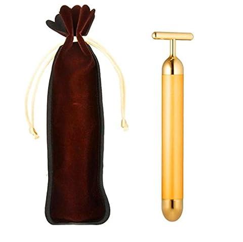 Masseur facial 24k Golden Pulse Facial Massager Beauty Bar Micro Vibration Face Lift Massage T bar Peau faciale Massaging System Massager Visage et sacs