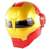 Casque de Moto Cool Iron Man,Casque Intégral de Visage de Rabat de Moto Avant Adulte...