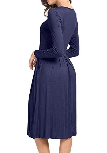 Suimiki Damen Stretch beiläufiges Rundhals Falten Midi Kleider Swing Basic Kleider mit Taschen Dunkelblau