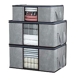 DIMJ 3 Stück Aufbewahrungstasche Faltbare Aufbewahrungsboxen, Große langlebige für Bettwäsche, Kleidung, Decken, Kissen Quilt Saison Artikel Lagerung