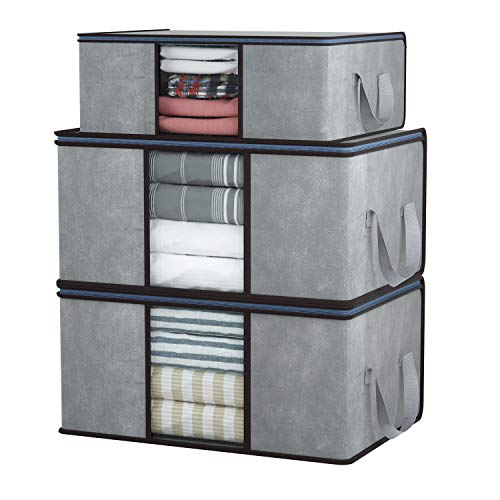 DIMJ 3 Stück Aufbewahrungstasche Faltbare Aufbewahrungsboxen, Große langlebige für Bettwäsche, Kleidung, Decken, Kissen Quilt Saison Artikel Lagerung (Grau)