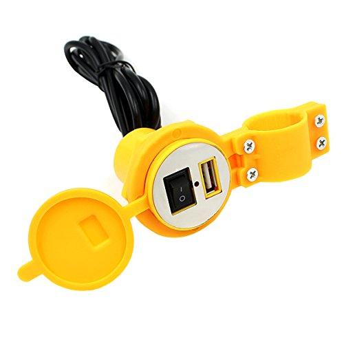 Pixnor Imperméable 12-24V 1,5 a moto Moto Dual USB Port d'alimentation d'alimentation prise chargeur pour téléphone portableMP3 SAT (jaune)