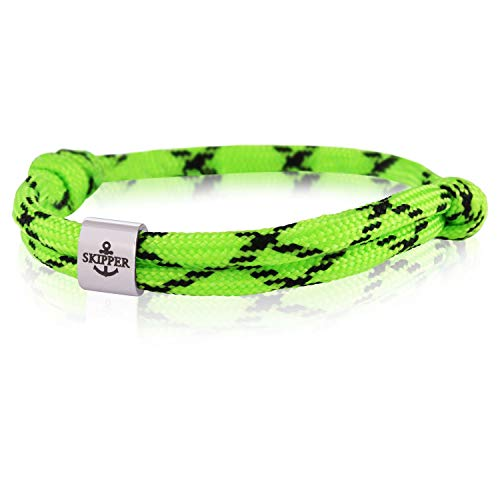 Skipper Surfer Armband mit Edelstahl Charm für Damen und Herren - Grün/Schwarz 7990 (Männer Bracelet Charm)