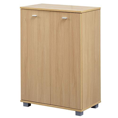 Moderne Holz Türen (FineBuy Design Schuhschrank Tanja modern Holz Buche 12 Paar Schuhe 4 Fächer 2 Türen | Schuhregal 60 x 90 x 35 cm platzsparend | Schuhkommode Flurschrank mit Ablage)