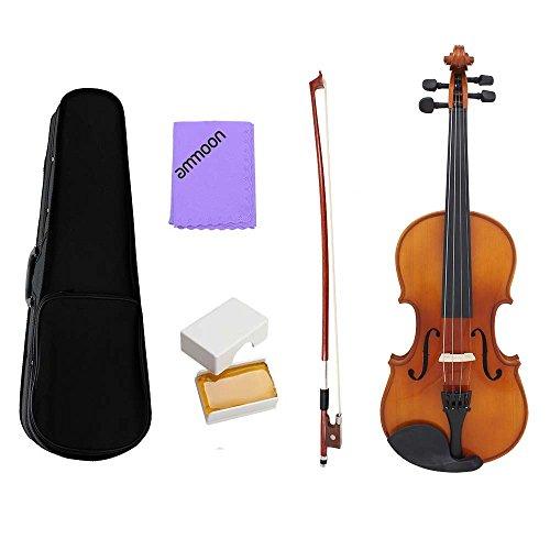 Violine, ammoon Violine 1/4 Violine Akustischen Geige natürlichen solide Holz Fichte Front Board Flamme Ahorn furniert für Anfänger Student Performer mit Fall Rosin Reinigung Tuch