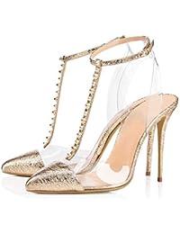 Amazon Dorado Zapatos es Mujer Para Transparentes Sandalias 116fnWpC