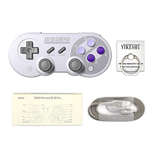 SN30Pro Gamepad, YIKESHU 8Bitdo Wireless Bluetooth Controller Klassisches Nintendo Gamepad Joystick für Mac OS, Android und Windows Geräte (SN30Pro)