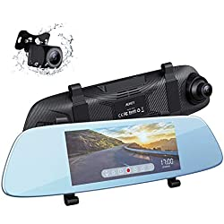 AUKEY Dash Cam Écran Tactile LCD 6,8 Pouces Caméra de Voiture Frontale 1080P et Arrière 720P Résistante à l'Eau Dashcam avec Mode Stationnement, Détecteur de Mouvements, Assistant de recul, G-Sensor
