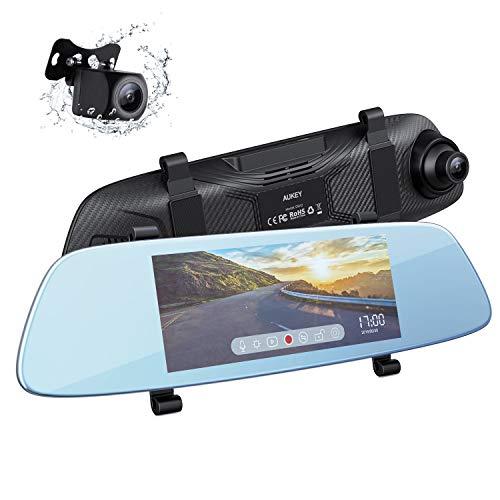 AUKEY Dashcam Spiegel 6.8 Zoll LCD-Touchscreen Rückfahrkamera mit 1080p Frontkamera und 720p Rückkamera Wasserfes Autokamera mit Parkmodus, G-Sensor, Bewegungserkennung, Loop
