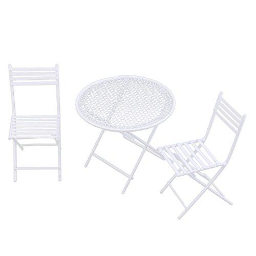 Gazechimp 3pcs Puppenmöbel Set - Miniatur Weiße Runde Tisch + 2x Stühle für 1:12 Puppenhaus Garten Dekoration - Runde Tisch-stuhl-sets