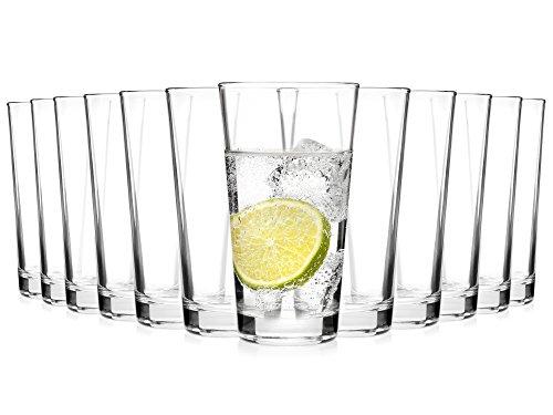 Bluespoon Gläser Set 'Stapello' 12er Set   Füllmenge der Trinkgläser 300 ml   Stapelbare Longdrinkgläser   Spülmaschinengeeignete Wassergläser