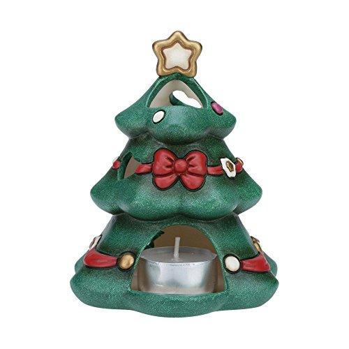 THUN® - Albero di Natale Porta Candela Tea Light - Soprammobile Natalizio da Collezione - Ceramica - I Classici