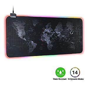 Vicloon RGB Mauspad, Gaming Mauspad mit Weltkarte Muster, 7 LED Farben 13 Beleuchtungs Modi Schreibtischunterlage Großes 800 x 300mm, Wasserdicht Rubber Base Mauspad für Computer, Laptop