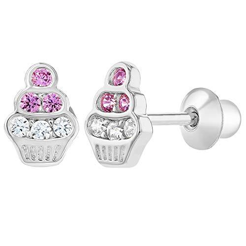 Ohrringe, rhodiniert, mit transparenten Kristallen, Cupcake-Design, für Babys und Kinder, Schraubverschluss