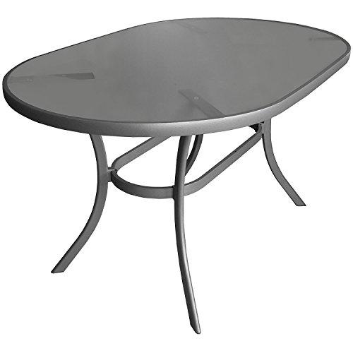 floristikvergleich.de Aluminium Gartentisch Glastisch 140x90cm oval Beistelltisch Terrassentisch