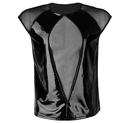 iEFiEL Herr Mann Lackleder Shirt Hemd Wetlook Tank Kurzarm Unterhemd Reizwäsche Fitness Mesh+Leder Spleiß Halb Transparent Schwarz X-Large