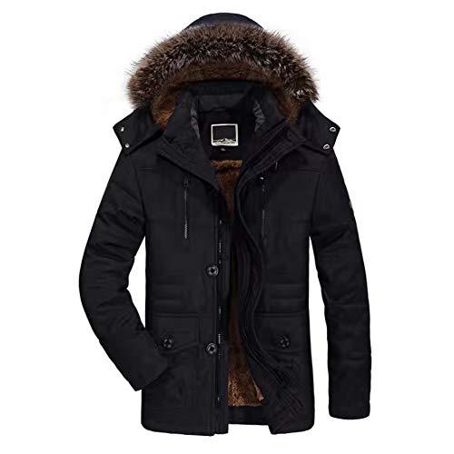 WANPUL Giubbotto Parka Uomo Giacca Parka Caldo Giacca Cappotto Invernale con Cappuccio Antivento Casual Giacche Nero L