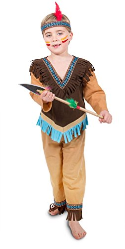 Folat 63268 Kinderkostüm Indianer Jungen, 3 teilig 98-116, Braun, (Kinder Indianer Junge Kostüm)