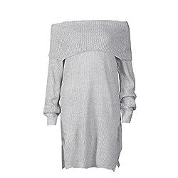 Transer® Sexy Off Shoulder Knit Pullover Long Sleeve Sweater Dress, Women Loose Knitted Dress Jumper Tops