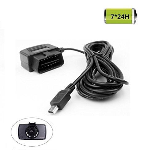 REARMASTER Cable de Carga para Cámara de Coche Dashcam, Interruptor Incorporado, 24 Horas Modo de Vigilancia y Modo de ACC, Conexión OBD