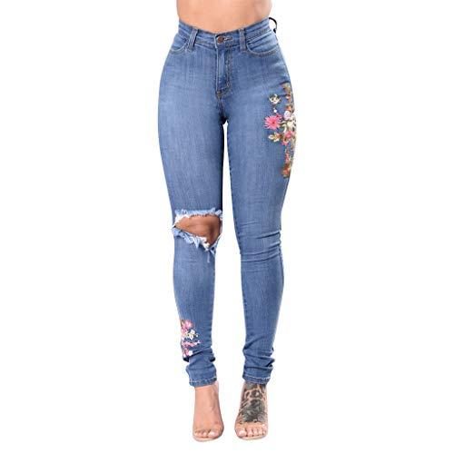 Yanhoo Art und Weisefrauen stickten dünne dünne Jeans der Knopf Taschen hohen Taillen Denim Hosen Bestickte Damenjeans mit hoher Taillenknopftasche -