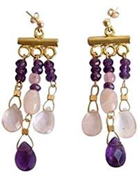 Gemshine - Damen - Chandelier - Ohrringe - Vergoldet - Amethyst - Violett - Rosenquarz - Rosa - Tropfen - 4 cm