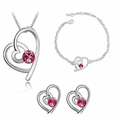 Demarkt 1 Set Femme Collier Bracelets Boucles doreilles en alliage Élégant Forme de coeur Pendentif pour Filles anniversaire Mariage Cadeau Chaîne Bijoux clous doreille Necklace (Rose rouge)