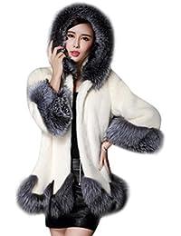 Donna Cappotto Giacche Parka Giacca Invernale Lungo Eleganti con Cappuccio  Autunno inverno In Pelliccia artificiale 760e7bbc916