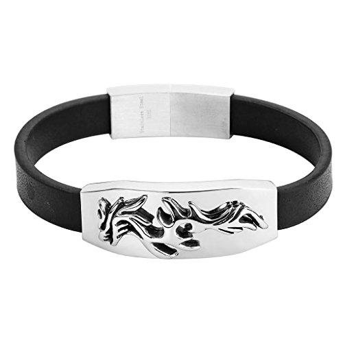 BeyDoDo Schmuck Herren Edelstahl Armband Genuine Schwarz Lederarmband Drachen Totem Leder Armbänder Herrenarmband Silber (Haargummi Laufen)
