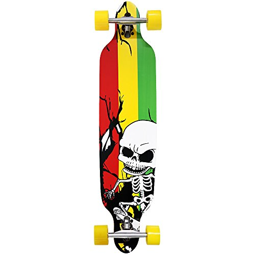 Atlantic Rift Longboard - 107x24cm - ABEC 9 - Drop Through Jamaica Komplettboard Motivauswahl - Kool Deck