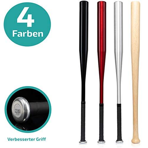 Steiner Sport - 31 Zoll Baseballschläger aus Aluminium oder Holz - ideal zur Selbstverteidigung - Solide Verarbeitung(Rot)