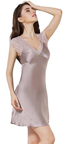 Tulpen Damen Seide Schlafkleider Spitze Muster 100% Maulbeerseide Schlafanzug Grau