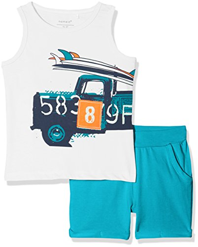 NAME IT Baby-Jungen Bekleidungsset NMMVILHELM Tank TOP Set D Mehrfarbig (Bright White Detail: Packed Together with Lake Blue Shorts) 92