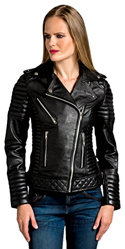 Urban Leather Fashion Lederjacke -Michelle, Schwarz, Größe 38, Medium