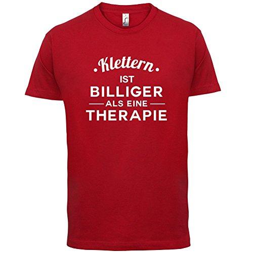 Klettern ist billiger als eine Therapie - Herren T-Shirt - 13 Farben Rot
