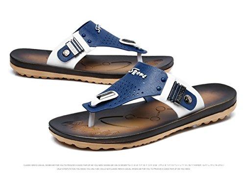 LOBTY Zehentrenner Flip Flops Herren Clogs Flops Pantoletten Sandalen Birkenstock Bio Sandalen Slipper leder Gr.40-44 Clogs Classic Pantoffeln Damen Sommer Schuhe Hausschuhe Gr.36-40 Blau