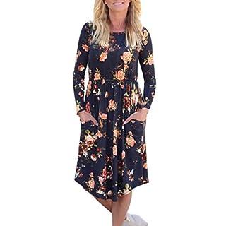 LSAltd Damen Kleid Frauen Herbst Weinlese Blumen gedrucktes Kleid langes Hülsen beiläufiges Abend Partei Kleid (Marine, L)