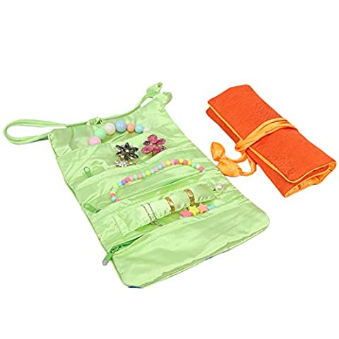 kilofly 2pc Soft Silk Embroidery Brocade Jewelry Roll Travel Organizer Pouch (Seta Zipper)